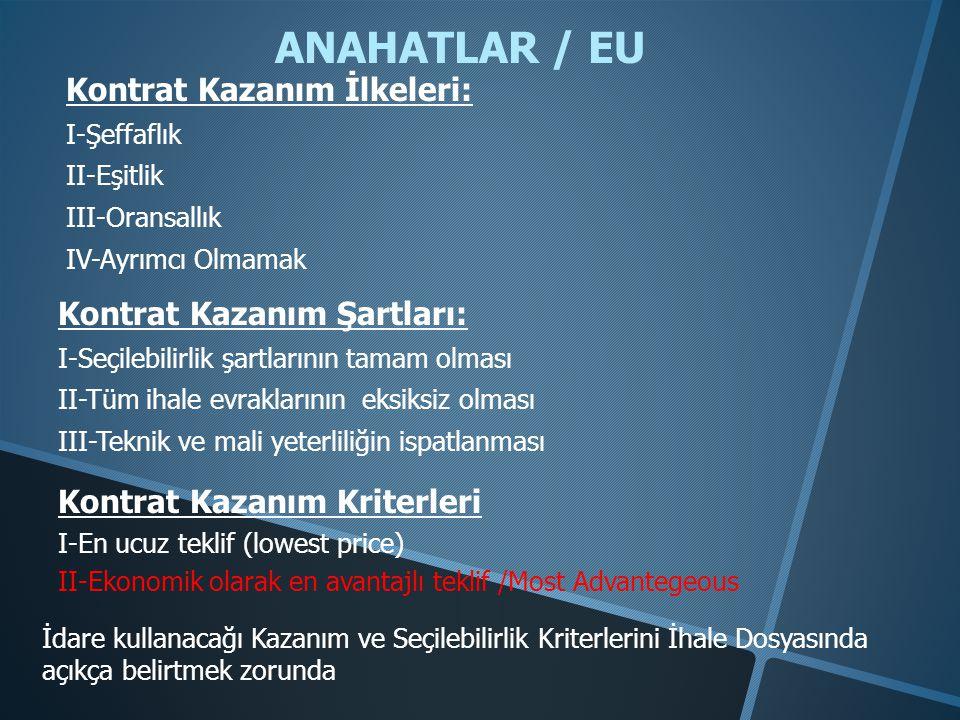 ANAHATLAR / EU Kontrat Kazanım İlkeleri: Kontrat Kazanım Şartları: