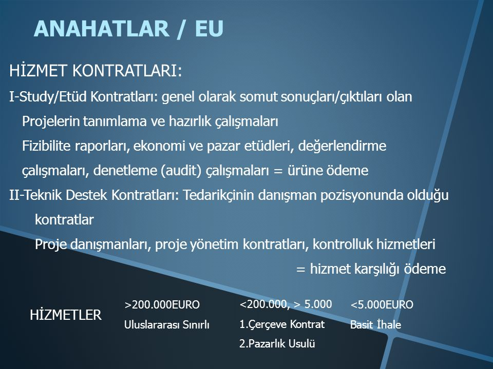 ANAHATLAR / EU HİZMET KONTRATLARI: