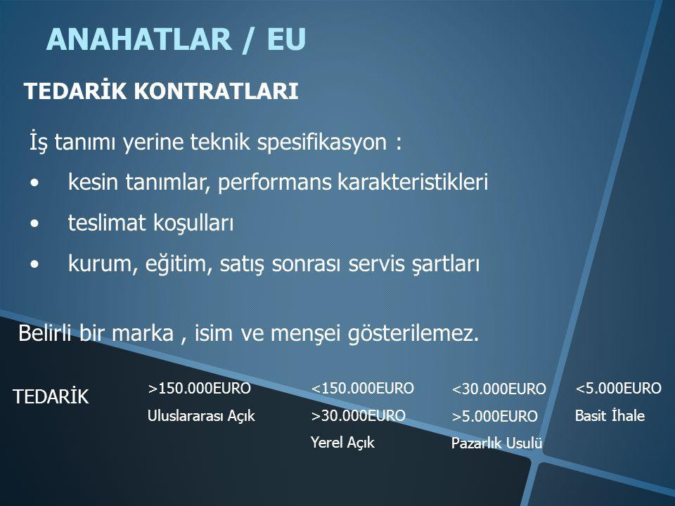 ANAHATLAR / EU TEDARİK KONTRATLARI