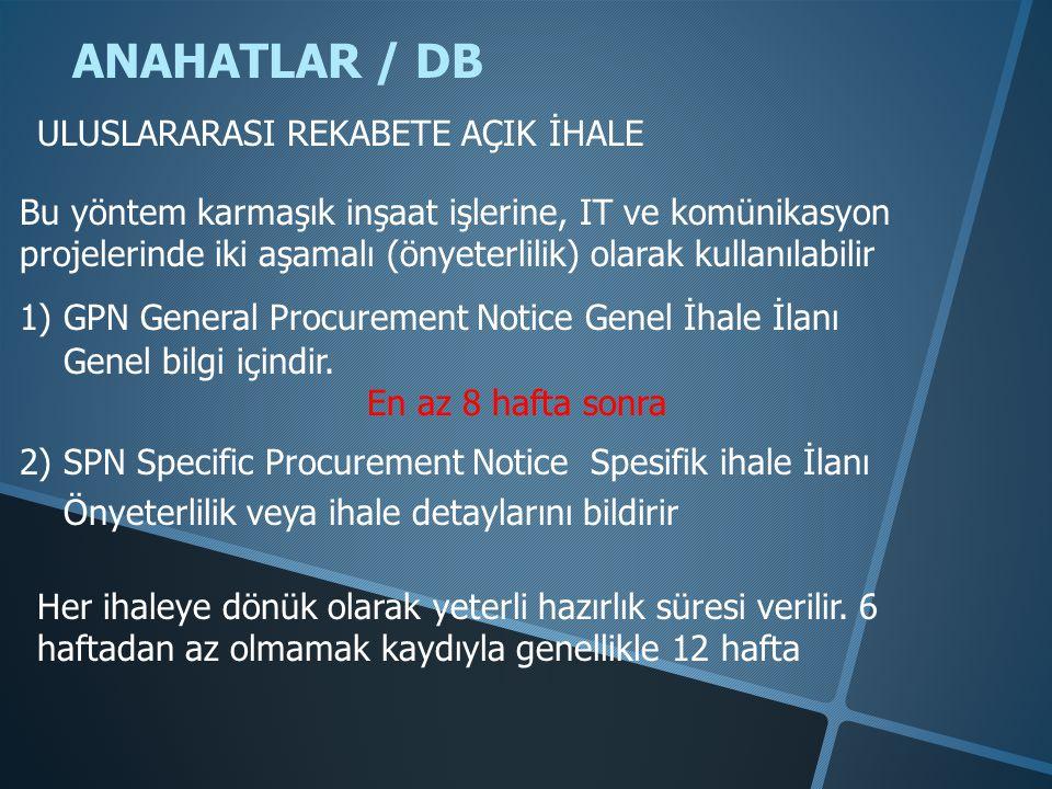 ANAHATLAR / DB ULUSLARARASI REKABETE AÇIK İHALE