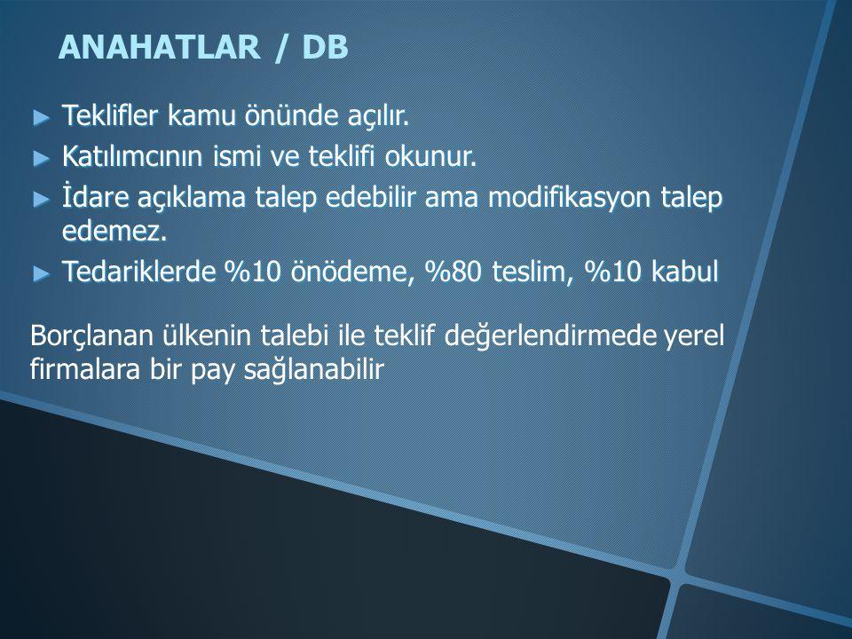 ANAHATLAR / DB Teklifler kamu önünde açılır.