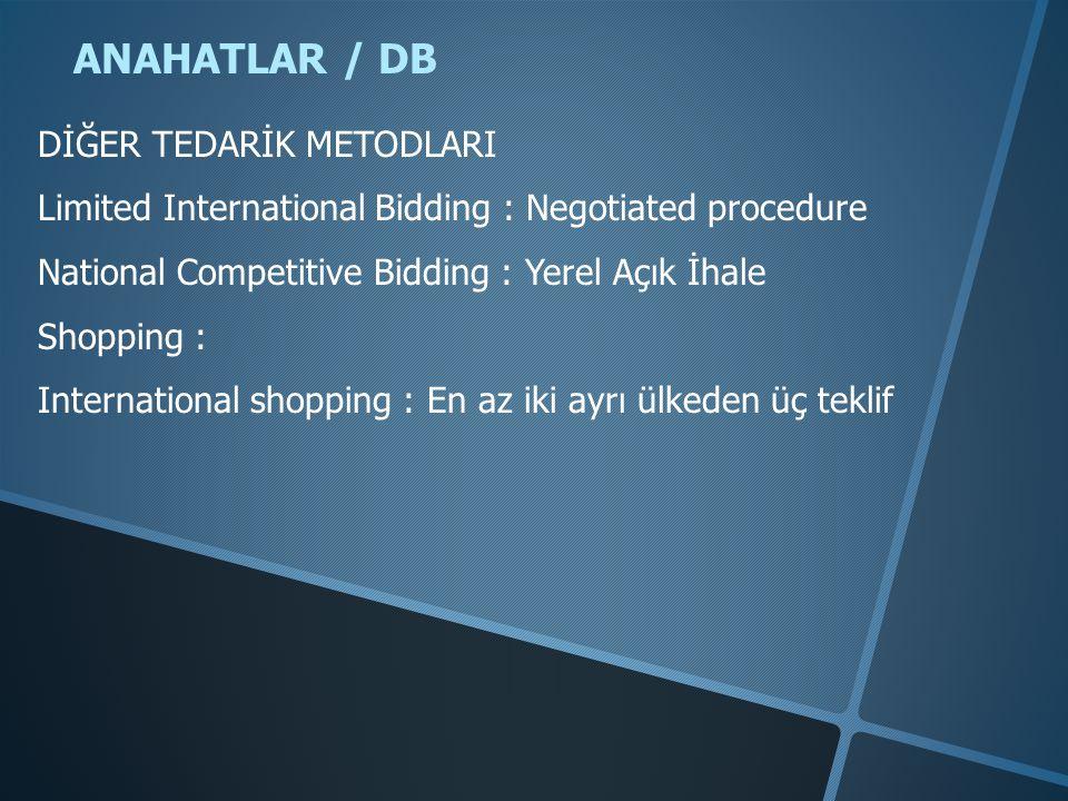 ANAHATLAR / DB DİĞER TEDARİK METODLARI