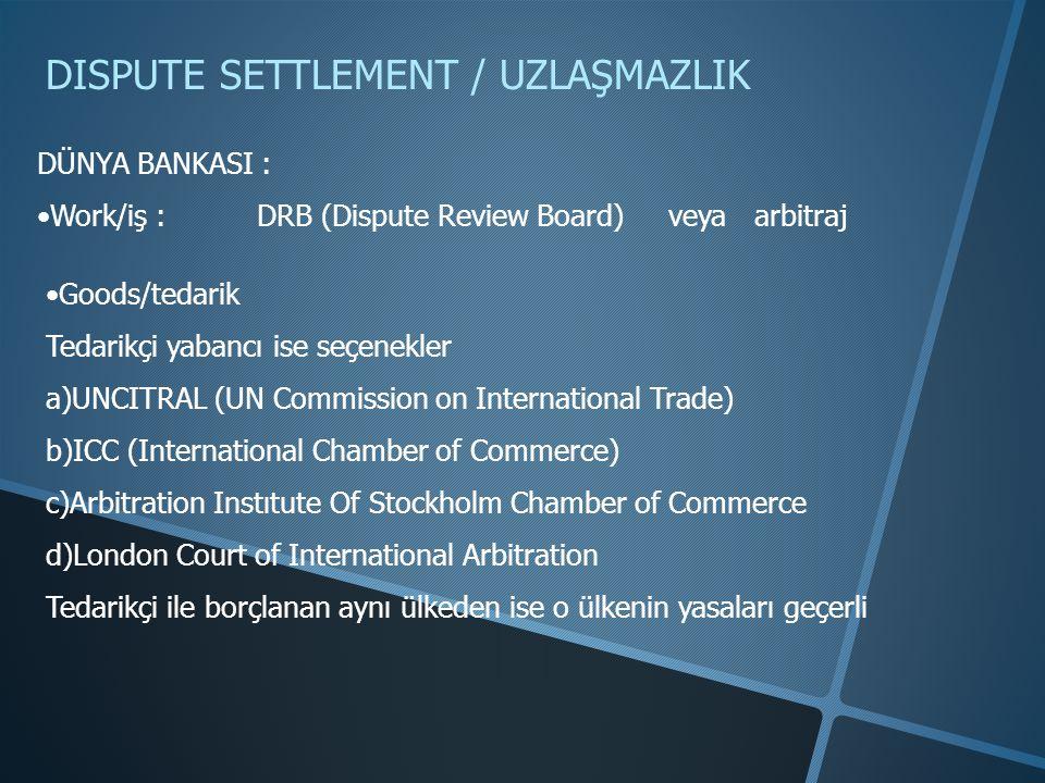 DISPUTE SETTLEMENT / UZLAŞMAZLIK