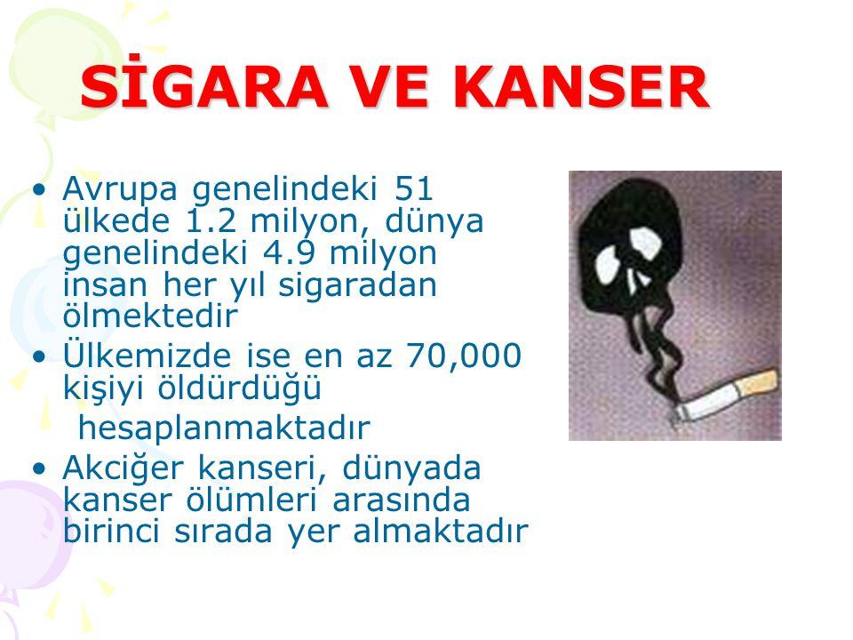 SİGARA VE KANSER Avrupa genelindeki 51 ülkede 1.2 milyon, dünya genelindeki 4.9 milyon insan her yıl sigaradan ölmektedir.