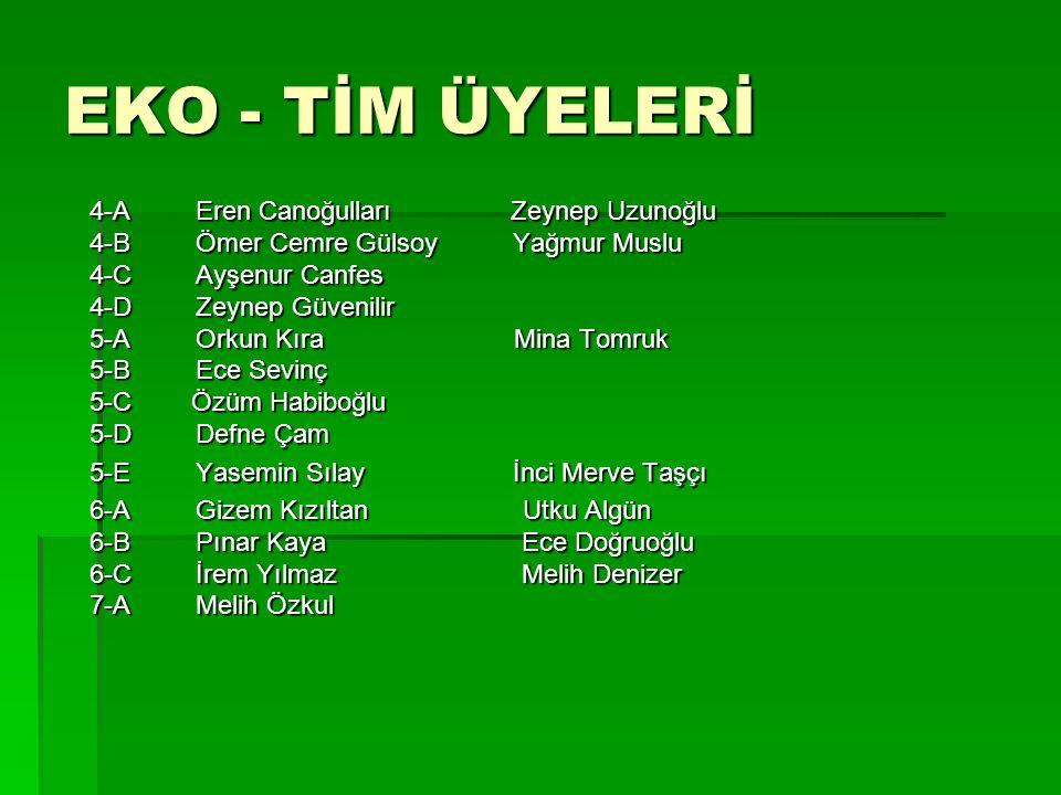 EKO - TİM ÜYELERİ 4-A Eren Canoğulları Zeynep Uzunoğlu