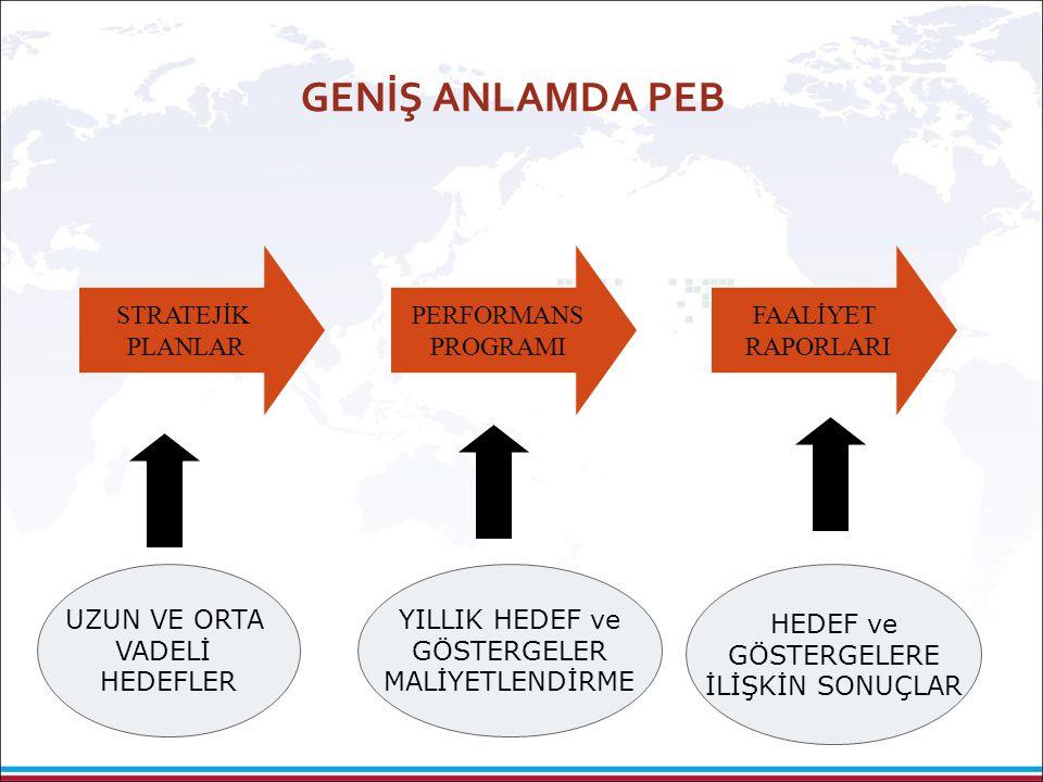 GENİŞ ANLAMDA PEB STRATEJİK PLANLAR PERFORMANS PROGRAMI FAALİYET