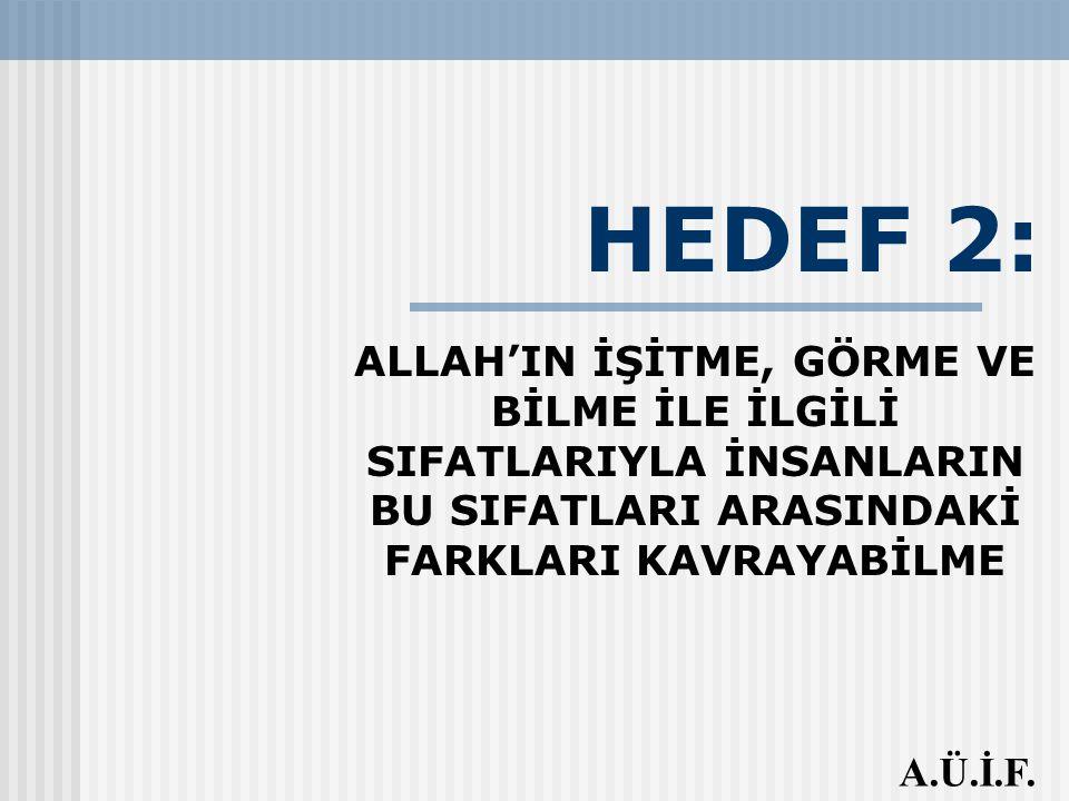 HEDEF 2: ALLAH'IN İŞİTME, GÖRME VE BİLME İLE İLGİLİ SIFATLARIYLA İNSANLARIN BU SIFATLARI ARASINDAKİ FARKLARI KAVRAYABİLME.