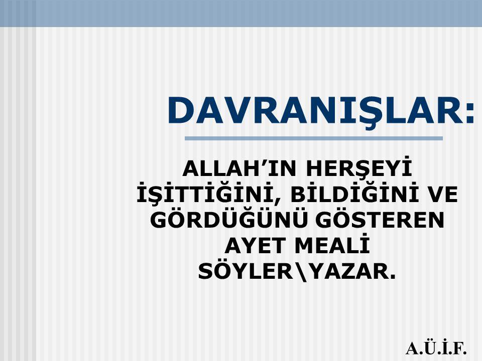 DAVRANIŞLAR: ALLAH'IN HERŞEYİ İŞİTTİĞİNİ, BİLDİĞİNİ VE GÖRDÜĞÜNÜ GÖSTEREN AYET MEALİ SÖYLER\YAZAR.