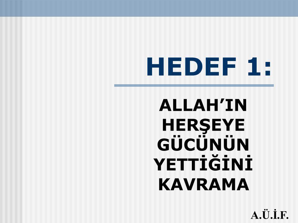 ALLAH'IN HERŞEYE GÜCÜNÜN YETTİĞİNİ KAVRAMA