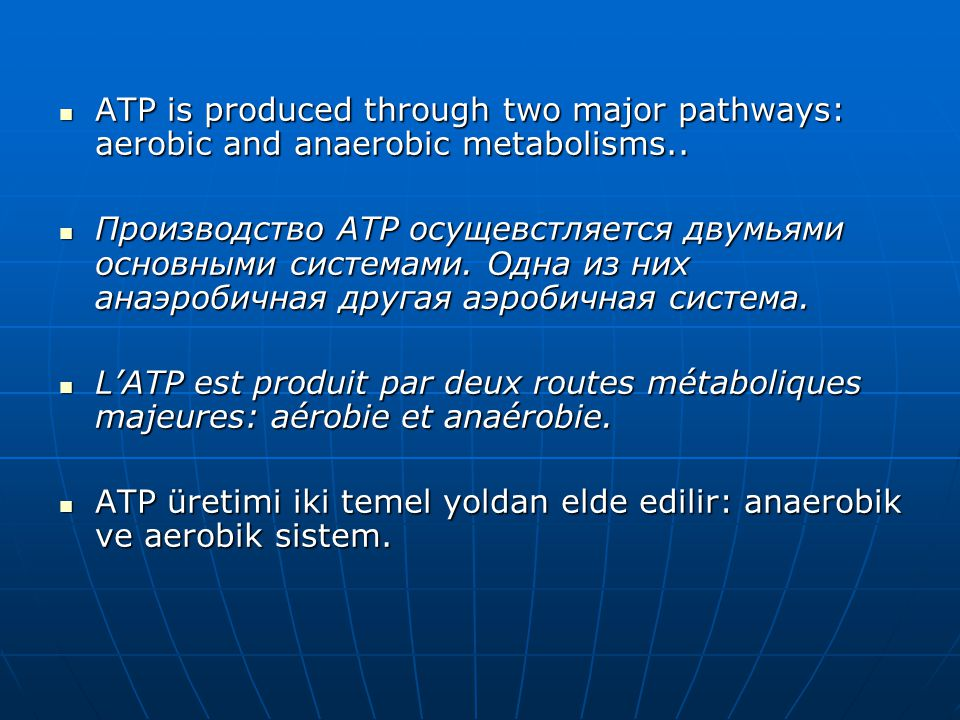 ATP is produced through two major pathways: aerobic and anaerobic metabolisms..