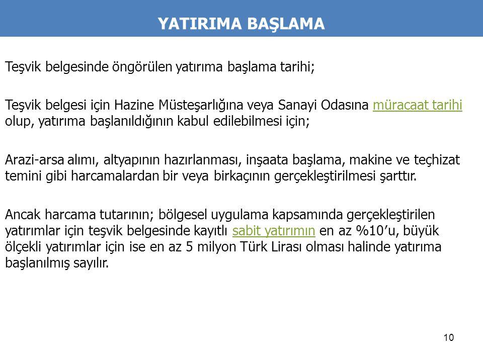 YATIRIMA BAŞLAMA Teşvik belgesinde öngörülen yatırıma başlama tarihi;