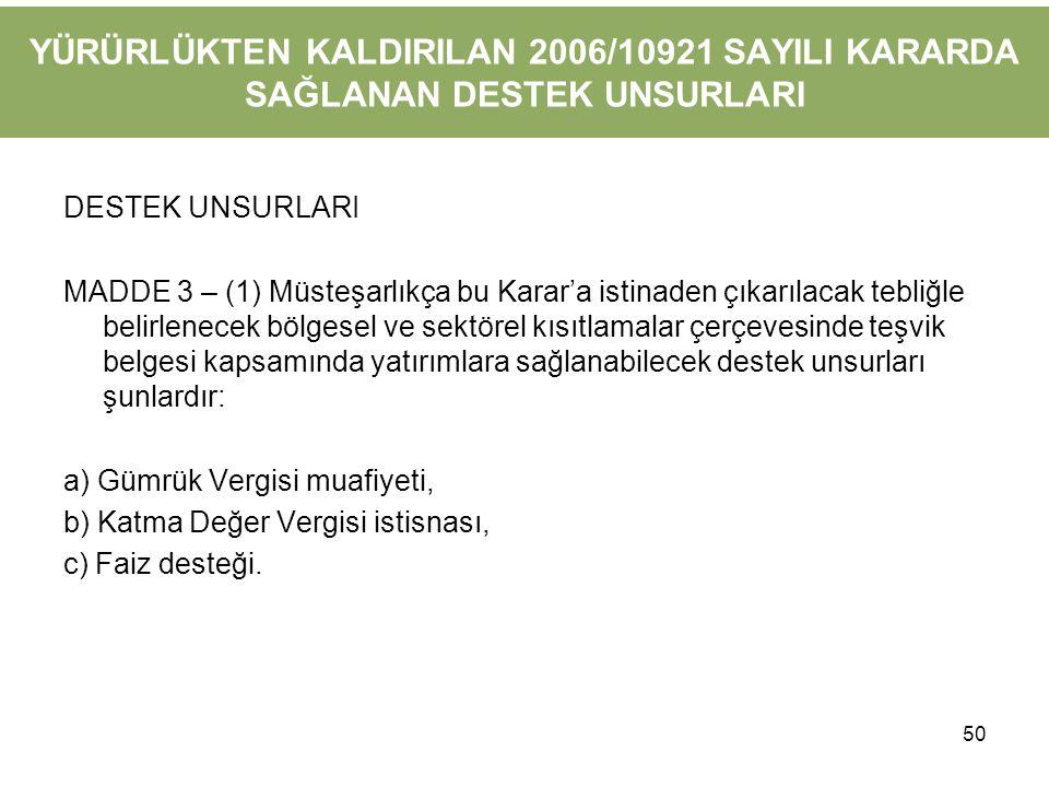 YÜRÜRLÜKTEN KALDIRILAN 2006/10921 SAYILI KARARDA SAĞLANAN DESTEK UNSURLARI