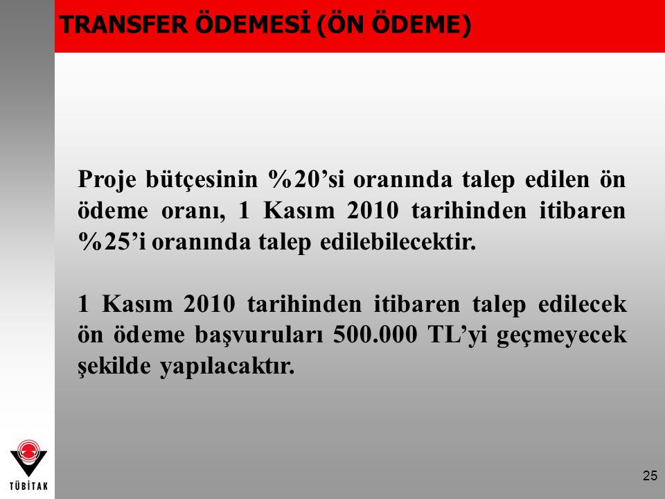 TRANSFER ÖDEMESİ (ÖN ÖDEME)