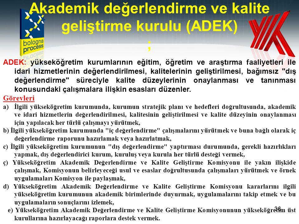 Akademik değerlendirme ve kalite geliştirme kurulu (ADEK) ;