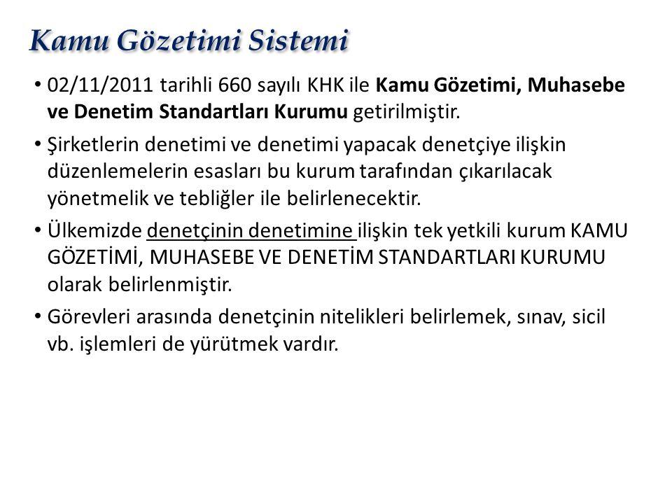 Kamu Gözetimi Sistemi 02/11/2011 tarihli 660 sayılı KHK ile Kamu Gözetimi, Muhasebe ve Denetim Standartları Kurumu getirilmiştir.