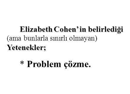 Elizabeth Cohen' in belirlediği (ama bunlarla sınırlı olmayan) Yetenekler;