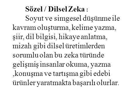 Sözel / Dilsel Zeka :