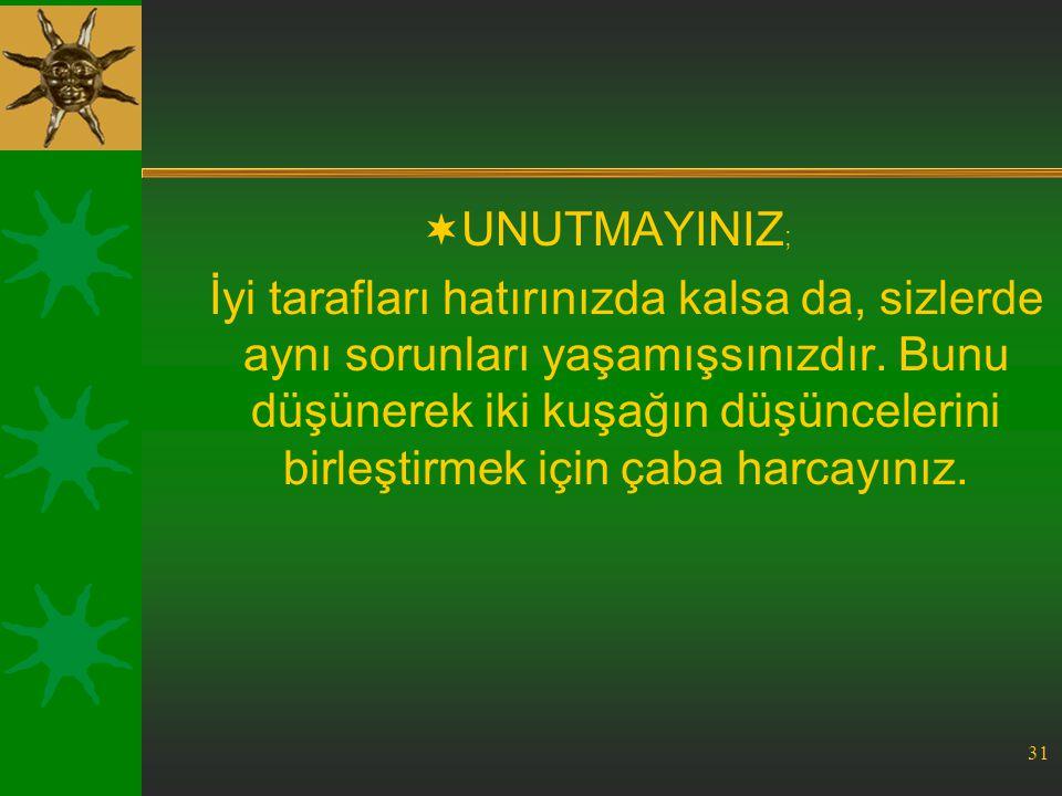 UNUTMAYINIZ;