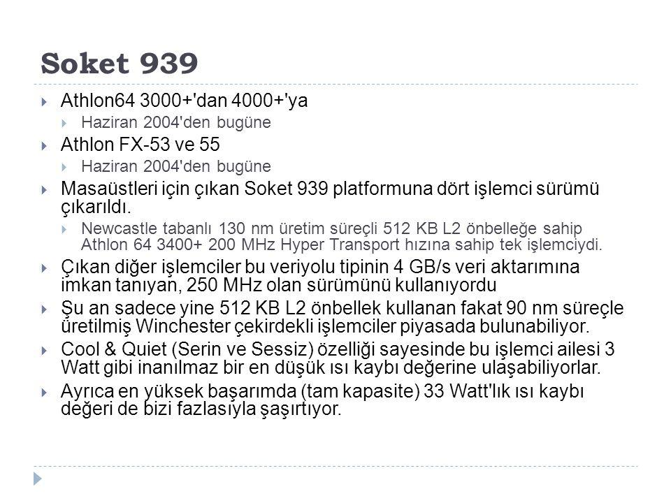 Soket 939 Athlon64 3000+ dan 4000+ ya Athlon FX-53 ve 55