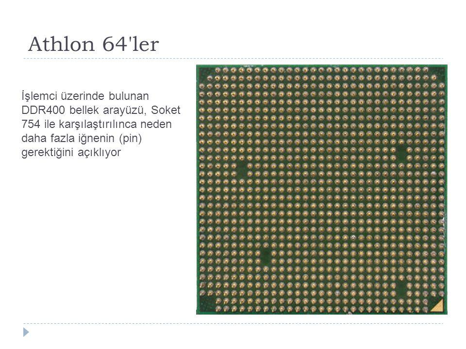 Athlon 64 ler İşlemci üzerinde bulunan DDR400 bellek arayüzü, Soket 754 ile karşılaştırılınca neden daha fazla iğnenin (pin) gerektiğini açıklıyor.