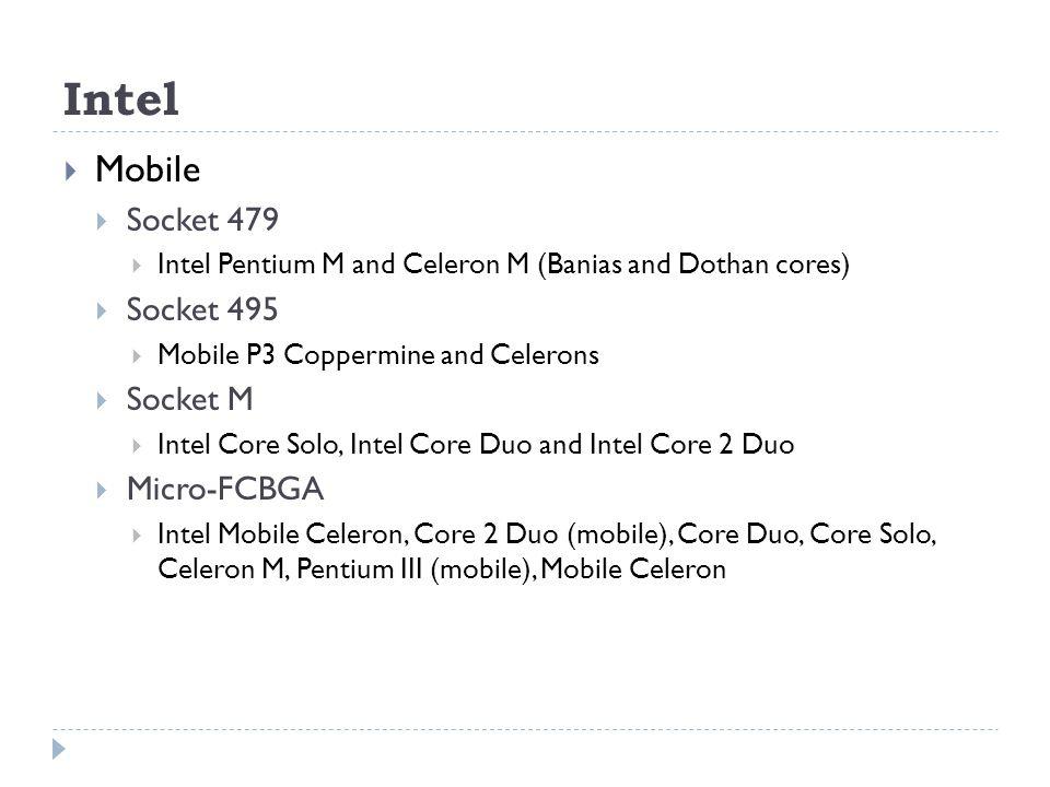 Intel Mobile Socket 479 Socket 495 Socket M Micro-FCBGA