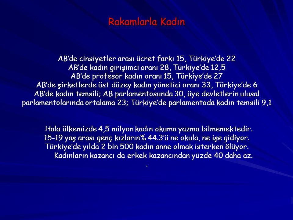Rakamlarla Kadın AB'de cinsiyetler arası ücret farkı 15, Türkiye'de 22