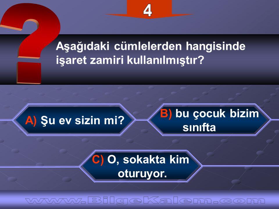 4 Aşağıdaki cümlelerden hangisinde. işaret zamiri kullanılmıştır