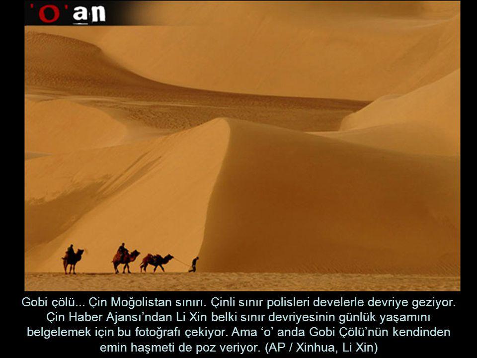 Gobi çölü. Çin Moğolistan sınırı