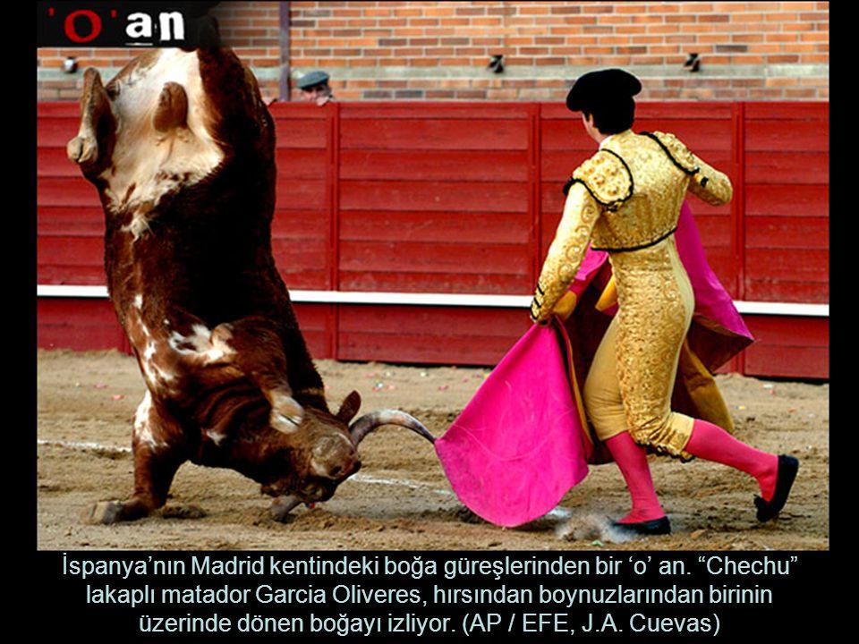 İspanya'nın Madrid kentindeki boğa güreşlerinden bir 'o' an