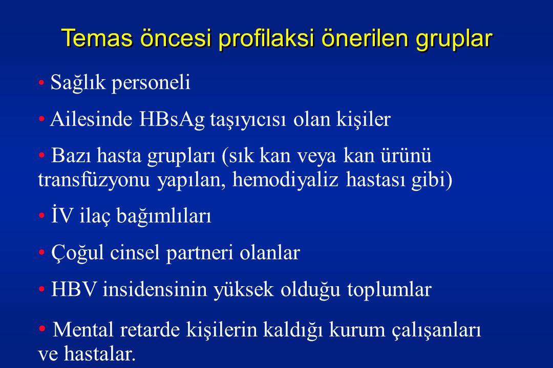 Temas öncesi profilaksi önerilen gruplar