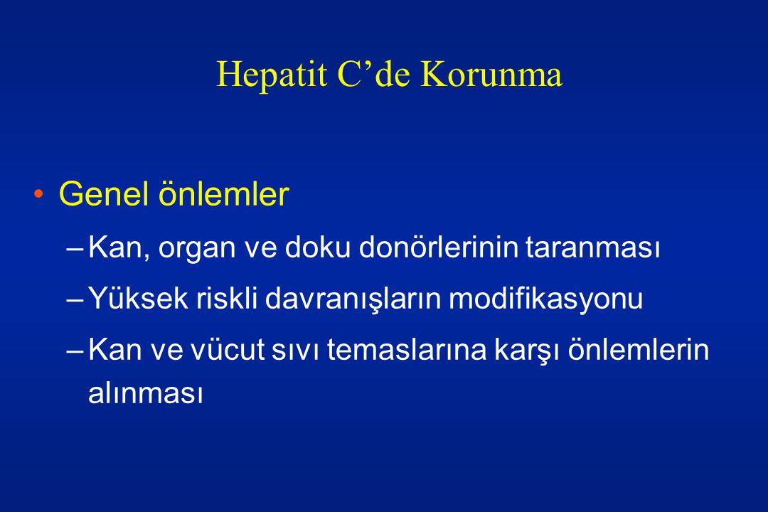Hepatit C'de Korunma Genel önlemler