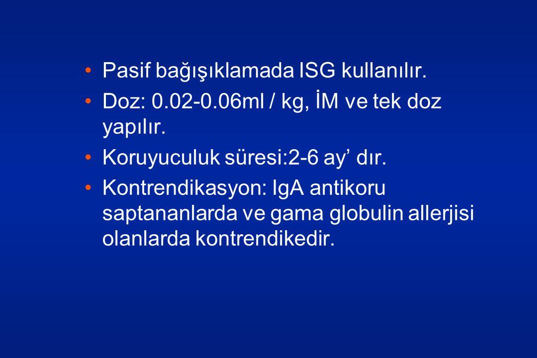 Pasif bağışıklamada ISG kullanılır.