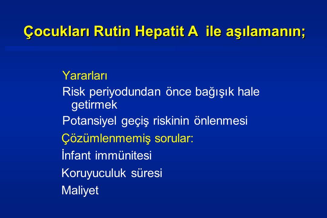 Çocukları Rutin Hepatit A ile aşılamanın;
