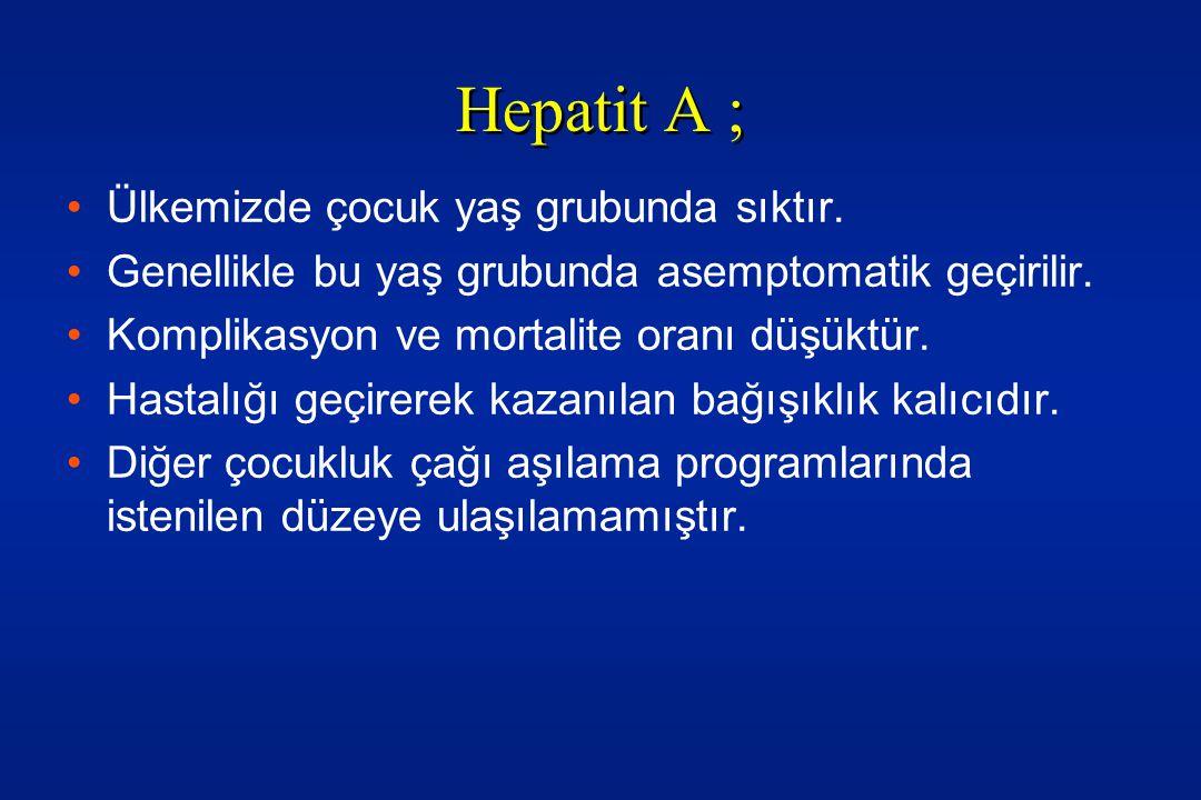 Hepatit A ; Ülkemizde çocuk yaş grubunda sıktır.