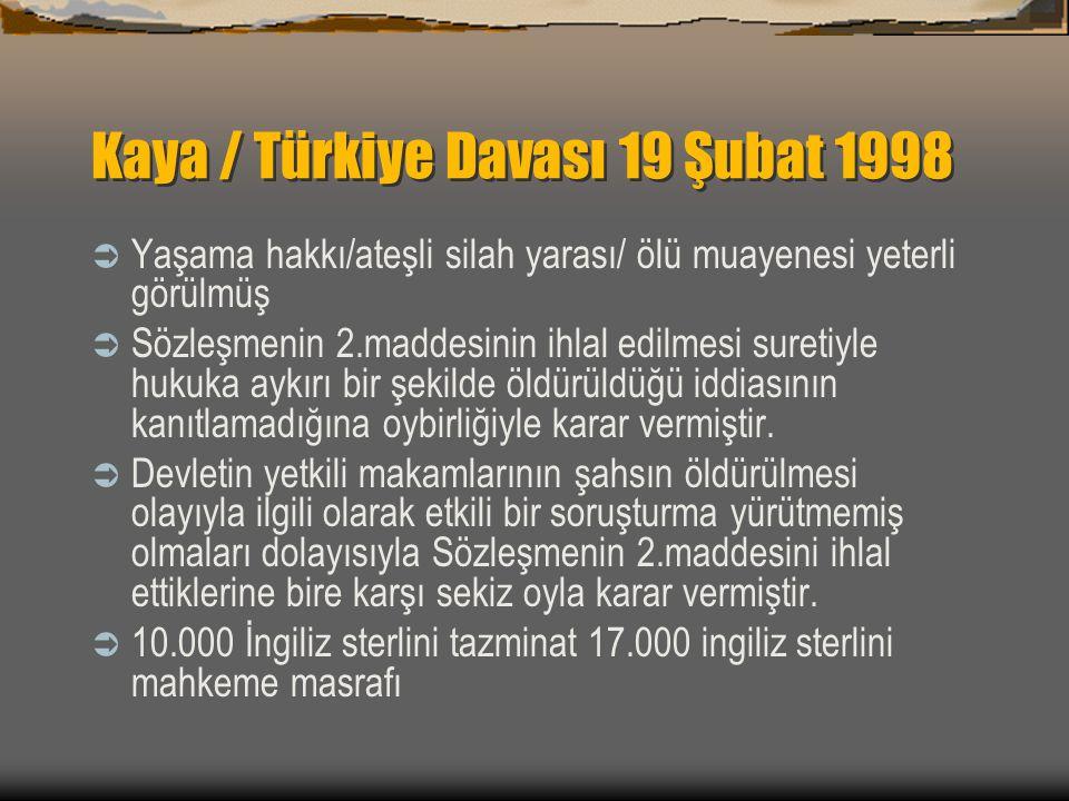 Kaya / Türkiye Davası 19 Şubat 1998