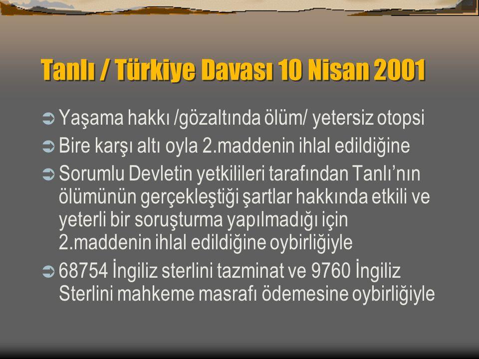 Tanlı / Türkiye Davası 10 Nisan 2001
