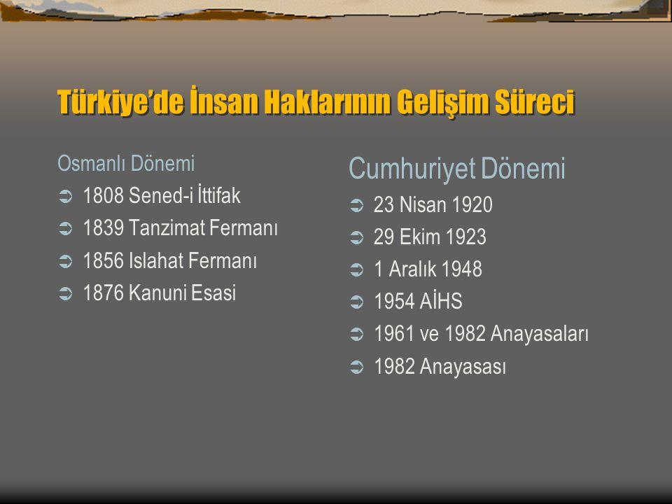 Türkiye'de İnsan Haklarının Gelişim Süreci