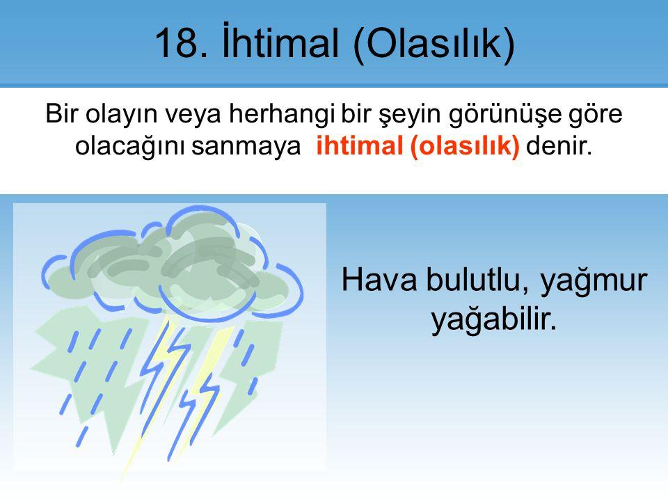 Hava bulutlu, yağmur yağabilir.