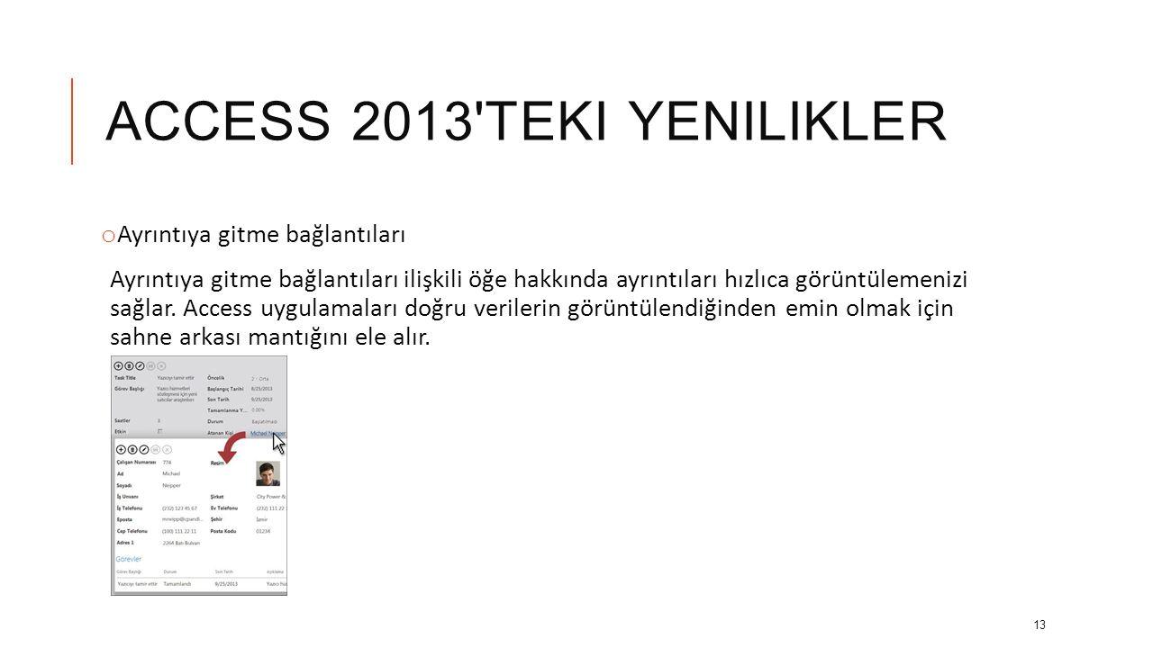 ACCESS 2013 teki yenilikler