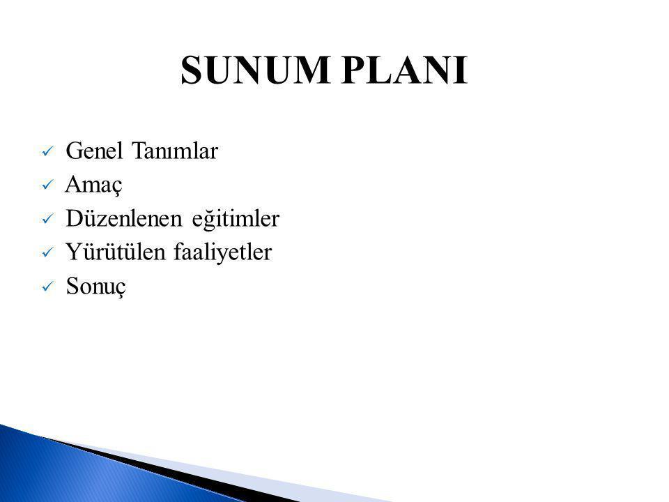 SUNUM PLANI Genel Tanımlar Amaç Düzenlenen eğitimler
