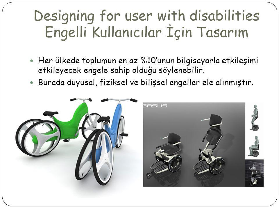 Designing for user with disabilities Engelli Kullanıcılar İçin Tasarım