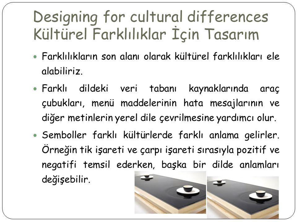 Designing for cultural differences Kültürel Farklılıklar İçin Tasarım