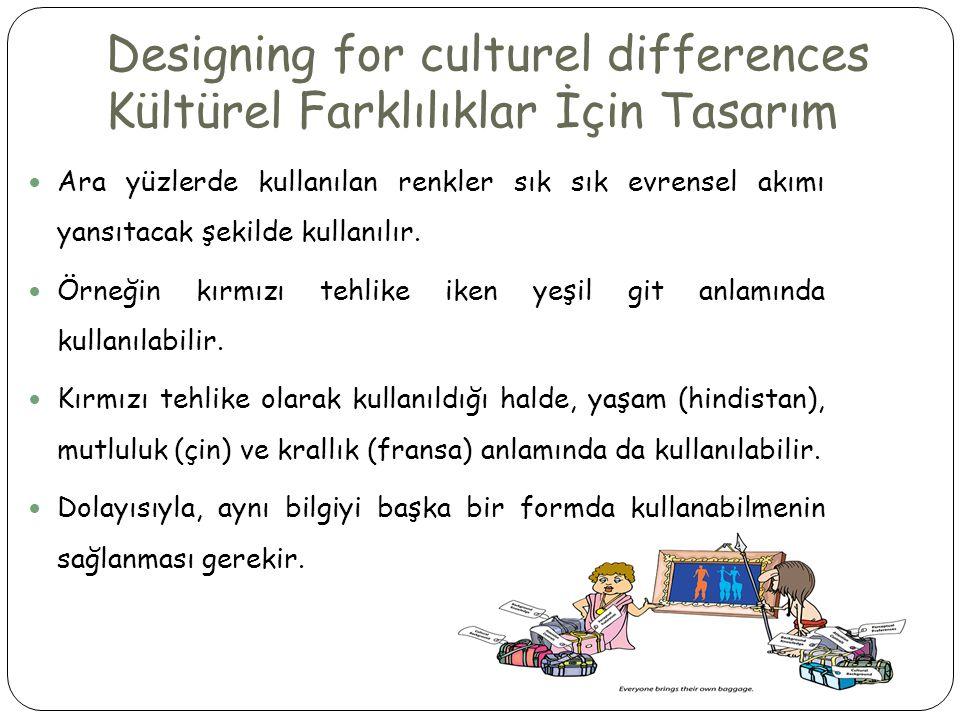 Designing for culturel differences Kültürel Farklılıklar İçin Tasarım