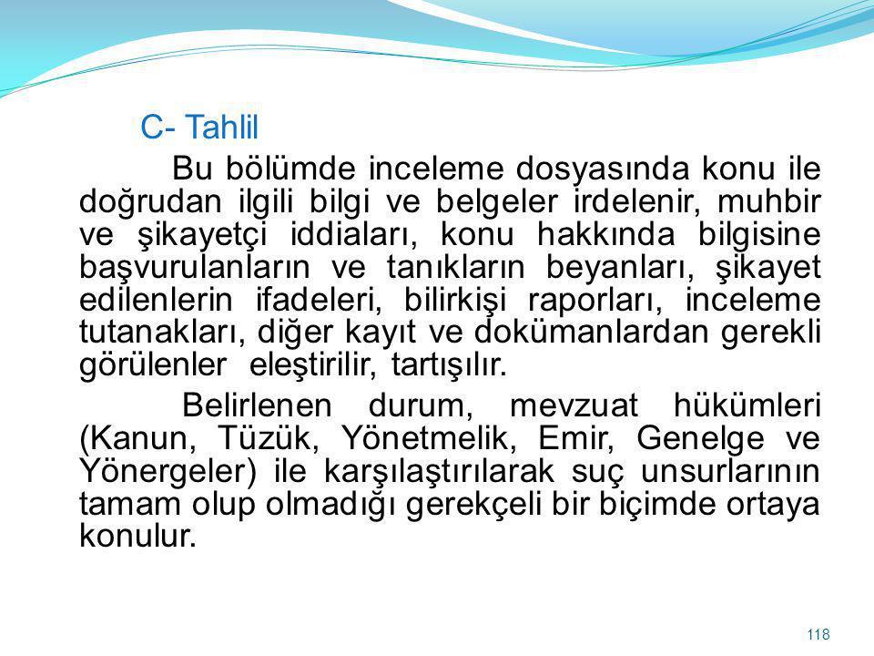 C- Tahlil