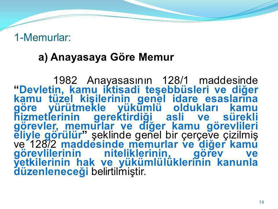 1-Memurlar: a) Anayasaya Göre Memur