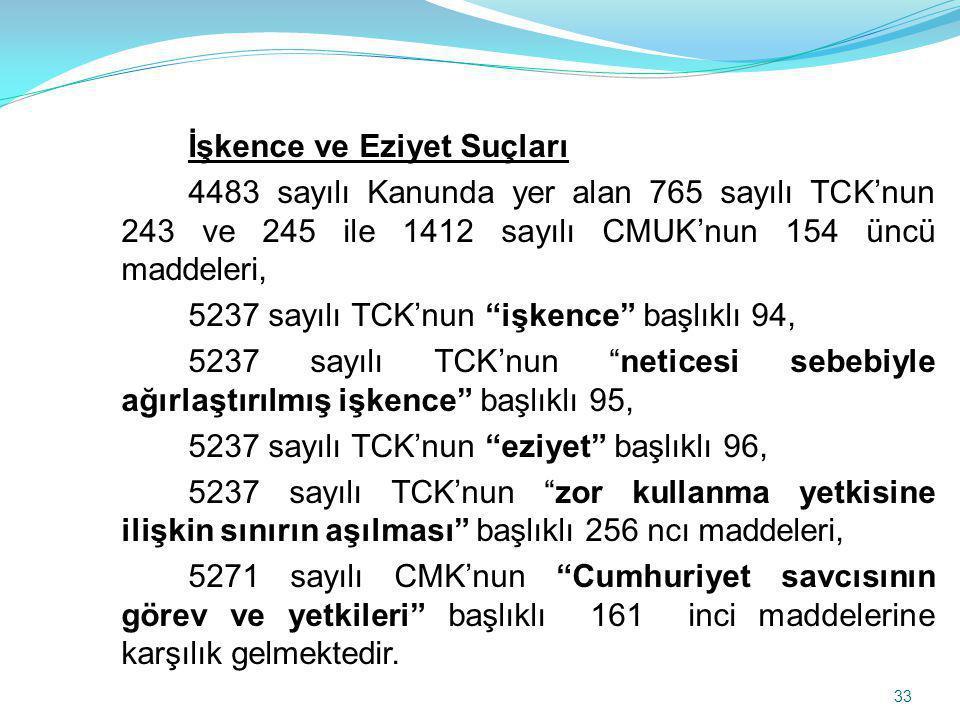 İşkence ve Eziyet Suçları 4483 sayılı Kanunda yer alan 765 sayılı TCK'nun 243 ve 245 ile 1412 sayılı CMUK'nun 154 üncü maddeleri, 5237 sayılı TCK'nun işkence başlıklı 94, 5237 sayılı TCK'nun neticesi sebebiyle ağırlaştırılmış işkence başlıklı 95, 5237 sayılı TCK'nun eziyet başlıklı 96, 5237 sayılı TCK'nun zor kullanma yetkisine ilişkin sınırın aşılması başlıklı 256 ncı maddeleri, 5271 sayılı CMK'nun Cumhuriyet savcısının görev ve yetkileri başlıklı 161 inci maddelerine karşılık gelmektedir.