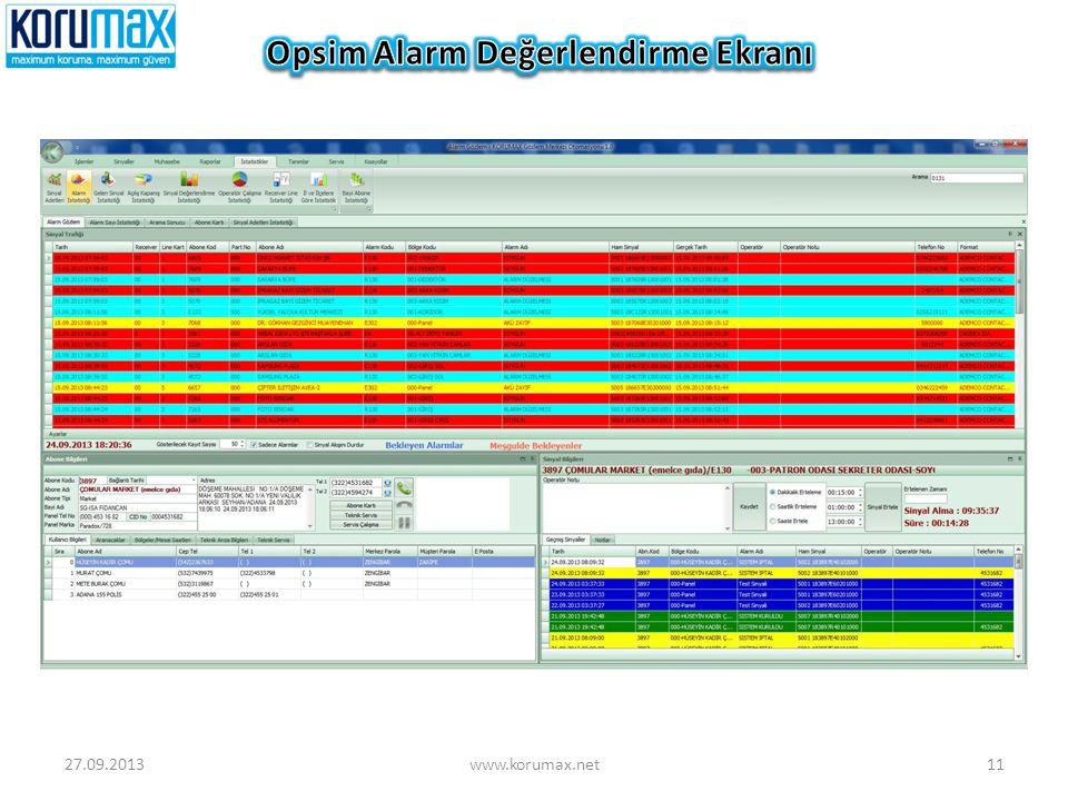 Opsim Alarm Değerlendirme Ekranı