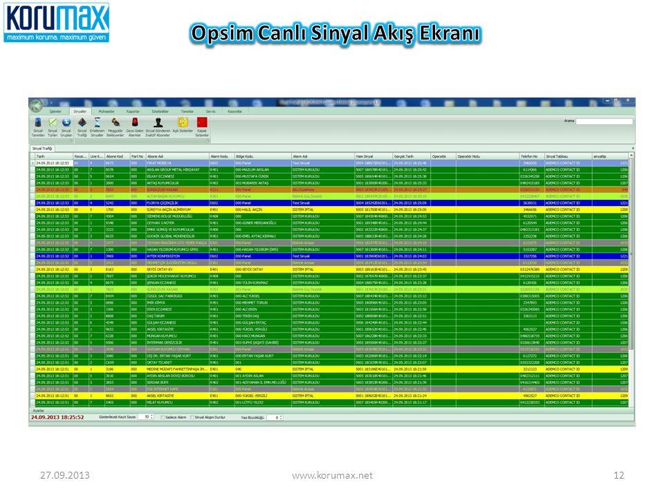 Opsim Canlı Sinyal Akış Ekranı
