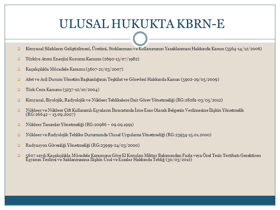 ULUSAL HUKUKTA KBRN-E Kimyasal Silahların Geliştirilmesi, Üretimi, Stoklanması ve Kullanımının Yasaklanması Hakkında Kanun (5564-14/12/2006)