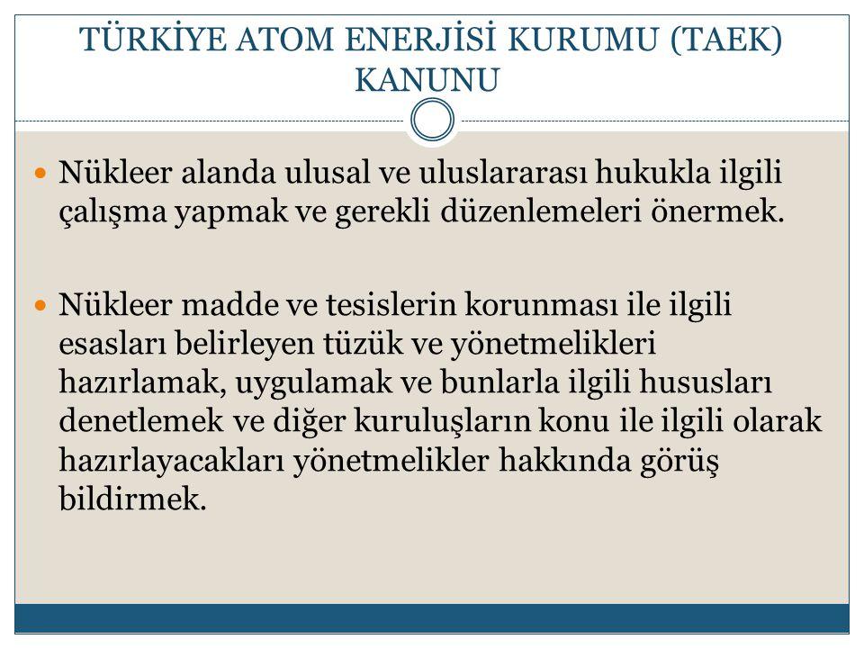 TÜRKİYE ATOM ENERJİSİ KURUMU (TAEK) KANUNU